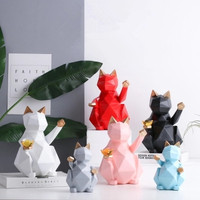 Geometry Lucky Cat Decoration Origami Animal Figurine Ornaments Fortune Cat Feng Shui Decorations New Shop Decors