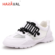 HARAVAL 2019new white sneakers spring and summer light breathable mesh round head slip wear-resistant simple platform sneakerN77