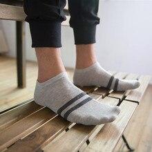 Hot Sale 1 Pair Unisex Men & Women Socks Comfortable Stripe summer thin Breathable Cotton Sock Slippers Short Men's Ankle Socks pair of stripe pattern cotton blend ankle socks