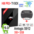 [Подлинная] H96 PRO + Android Tv Box 3 ГБ 32 ГБ S912 Amlogic Android 6.0 Компл. Top Box 2.4 Г/5.8 Г Wi-Fi UHD 4 К Media Player + I8 клавиатура