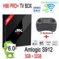 [Auténtica] H96 PRO + Android Tv Box 3 GB 32 GB Amlogic S912 Android 6.0 Unidades Top Box 2.4G/5.8G WiFi UHD 4 K Reproductor Multimedia + I8 teclado