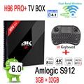 [Genuine] H96 PRO + Android Tv Box 3 GB 32 GB Amlogic S912 Android 6.0 Conjunto Top Box 2.4G/5.8G WiFi UHD 4 K Media Player + I8 teclado