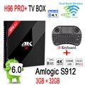 [Genuine] H96 PRO+ Android Tv Box 3GB 32GB Amlogic S912 Android 6.0 Set Top Box 2.4G/5.8G WiFi UHD 4K Media Player+I8 Keyboard