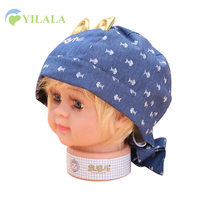Cat Baby Pirate Hats Cute Fish Print Hat With Cat Ear Cotton Solid Boys Girls Hat