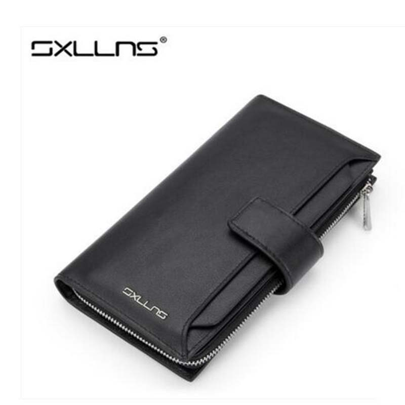 Hot Men Wallets Famous Brand Mens Wallet Leather Genuine Luxury Large Capacity Business Casual Purse Clutch Bags Man Wallet Men famous brand 2016 genuine leather women men long wallet khaki black purple for ladies purse solid woman man large burse yi235