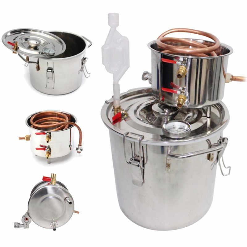 20L 蒸留器の密造酒アルコールステンレス銅 DIY ホーム水ワインエッセンシャルオイル醸造キット