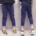 Горячая продажа 2016 новый осень-весна дети девушки джинсы детские леггинсы тощие мода джинсы для детей джинсовые цветные брюки 3-9 Т качество