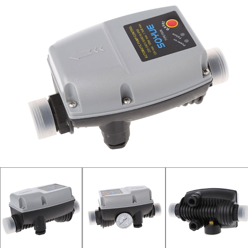 OOTDTY Automatic Pressure Controller Electronic Switch Control Flow For Water Pump Grey ifree fc 368m 3 channel digital control switch white grey