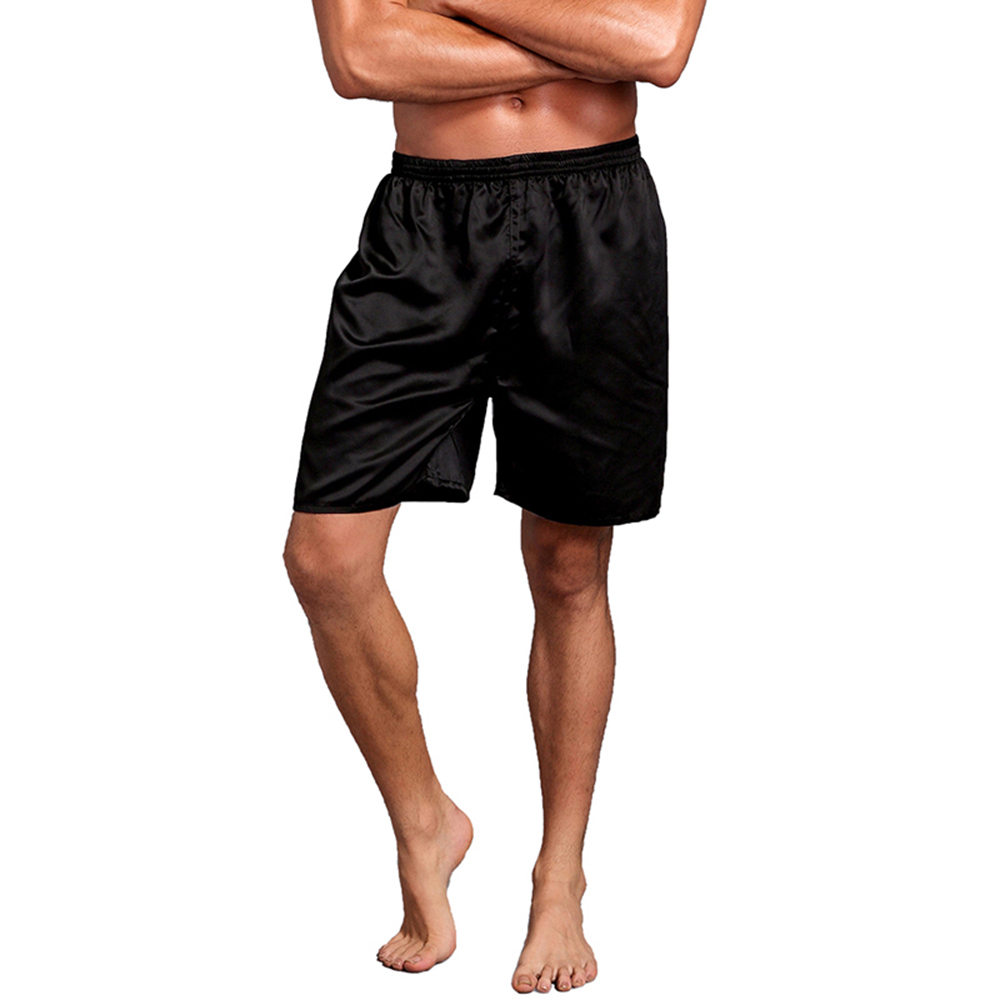 Solid Color Men Sexy Silk Satin Sleepwear Loose Casual Elastic Waist Soft Summer Sleeping Shorts Home Pajama Pants Sleep Pants