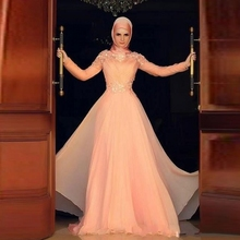 Long Sleeve Dubai Arabic Style Muslim Islamic hijab Muslim Evening Dress A-Line Pink Chiffon Elegant Evening Gown 2015