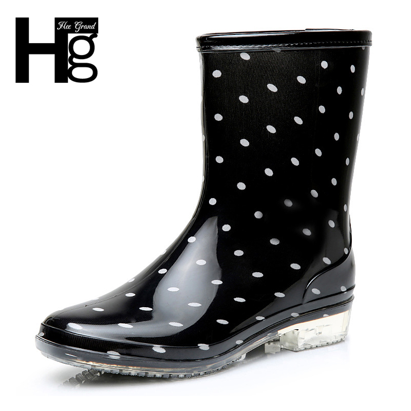 HEE GRAND 2017 Fashion Elastic Band Solid Women Rain Boot Waterproof Women Boots Rubber Low Heel Shoes XWX5822 hellozebra women rain boots waterproof fashion rubber elastic band solid color raining day shoes low heel 2017 autumn new