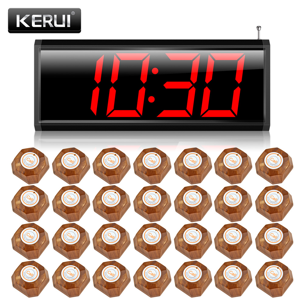 KERUI C2999 Wireless Calling System for Restaurant Service System+28 calling button LED display 2 receivers 60 buzzers wireless restaurant buzzer caller table call calling button waiter pager system