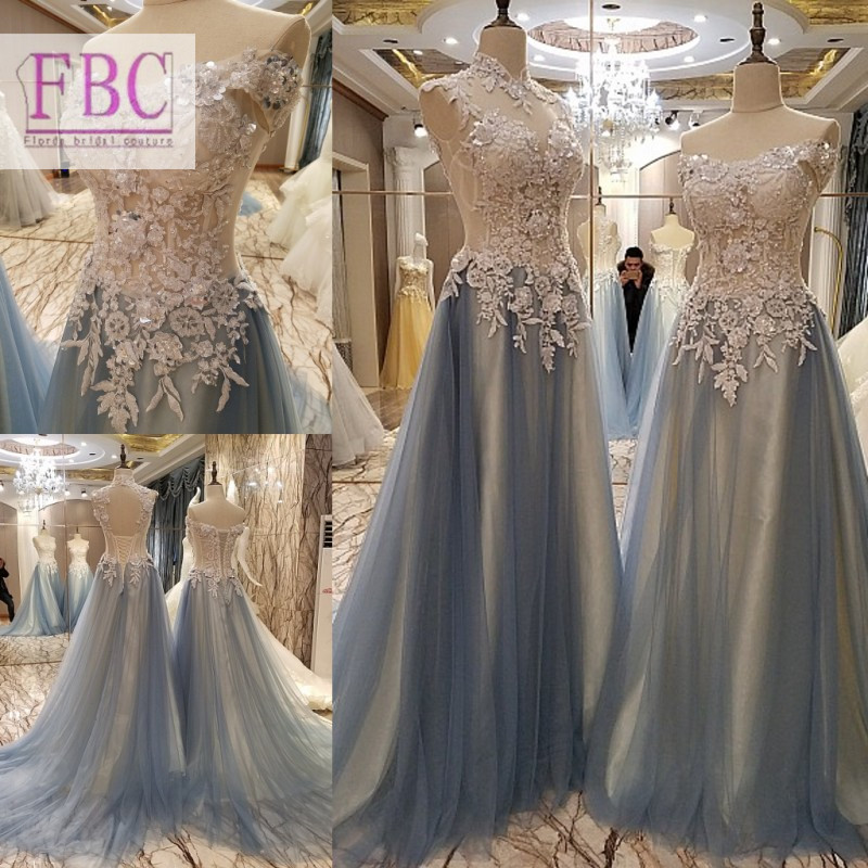 2018 Real Picture Light Grey Prom Dresses Tulle Appliques Evening Dresses Party Gowns In Prom