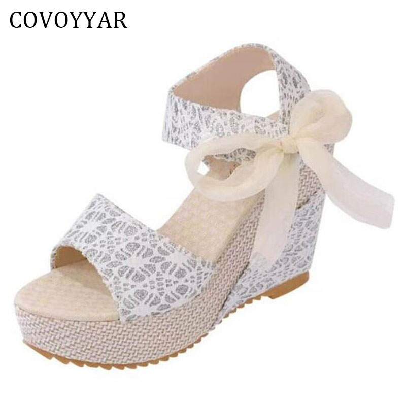 2018 Lace Print Women Sandals Wedges Summer Open Toe Platform Women Shoes Lace Up Ribbons Bow Lady Pumps High Heels WSS194 e toy word summer platform wedges women sandals antiskid high heels shoes string beads open toe female slippers