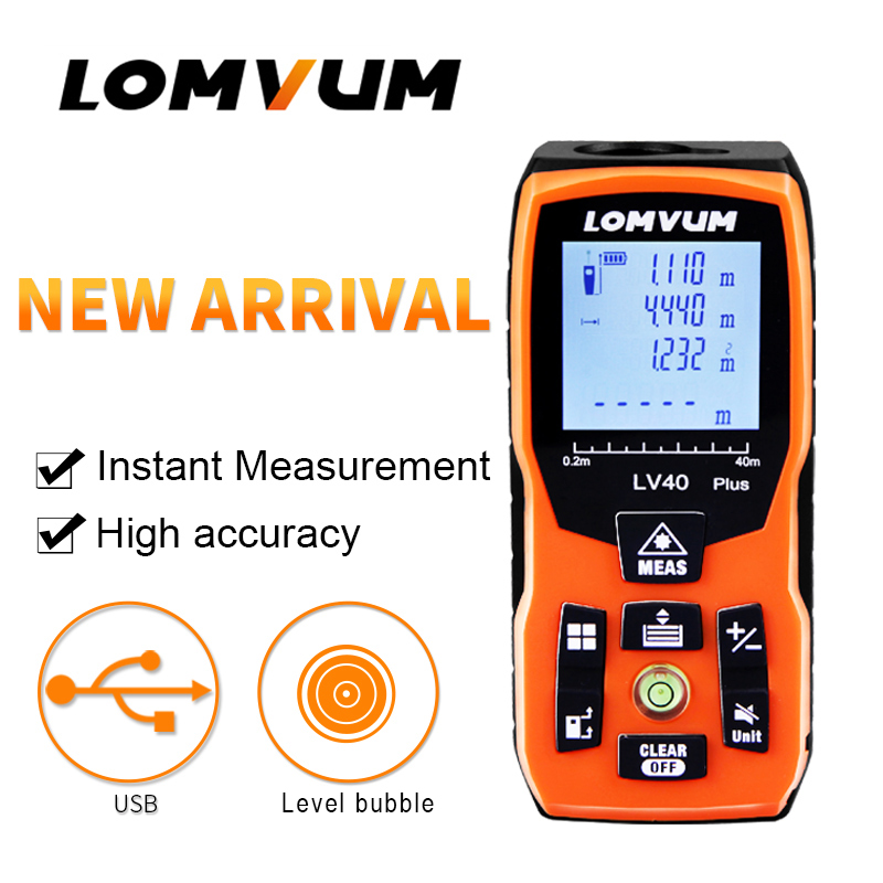 LOMVUM LV PLUS Handheld Laser Distance Meter 60M 80M 100M Mini Laser Rangefinder Level Bubble Range Finder Diastimeter Measure mastech ms6418 laser distance meter 80m distance measure digital range finder with bubble level