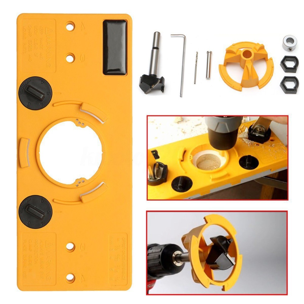 35mm Cup Style Concealed Hinge Boring Jig Drill Guide Set Door Hole