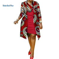 New African Print Dress and Suit Coat for Women Bazin Riche 100% Cotton 2 Pieces Sets Traditional African Women Clothes WY586