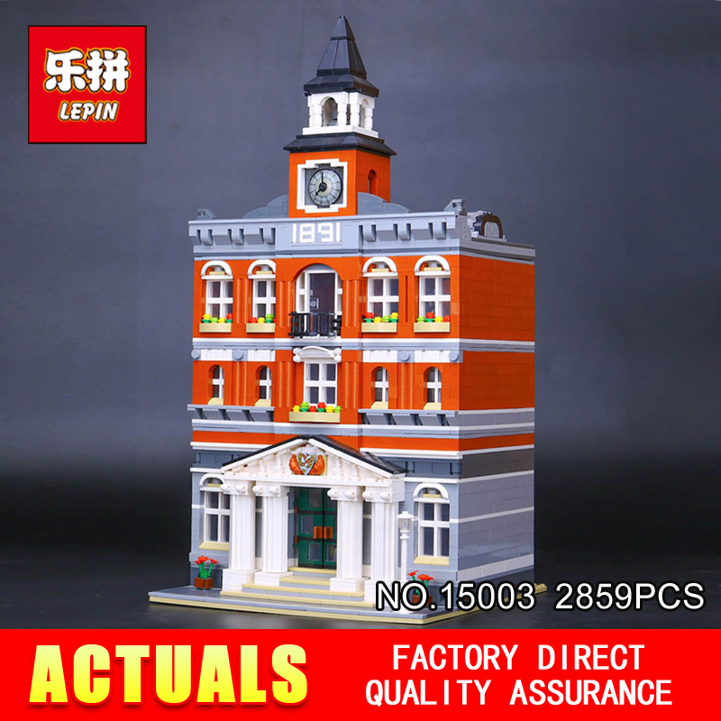 LEPIN 15003 New 2859Pcs Creators The town hall Model Building Kits Blocks Kid Toy Compatible Brick Christmas Gift 10224 free dhl shipping lepin 15003 new 2859pcs creators the town hall model building kits blocks kid toy gift