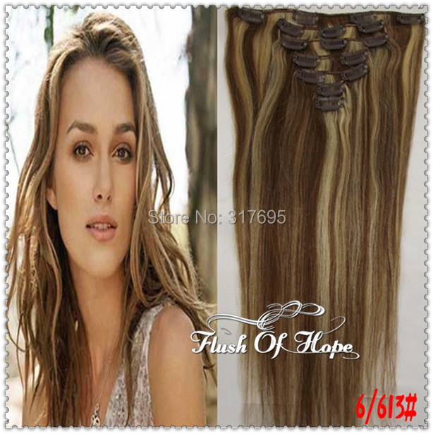 Piano Colors 18inch 16 Clips In Remy Real Hair Extensions 70gset