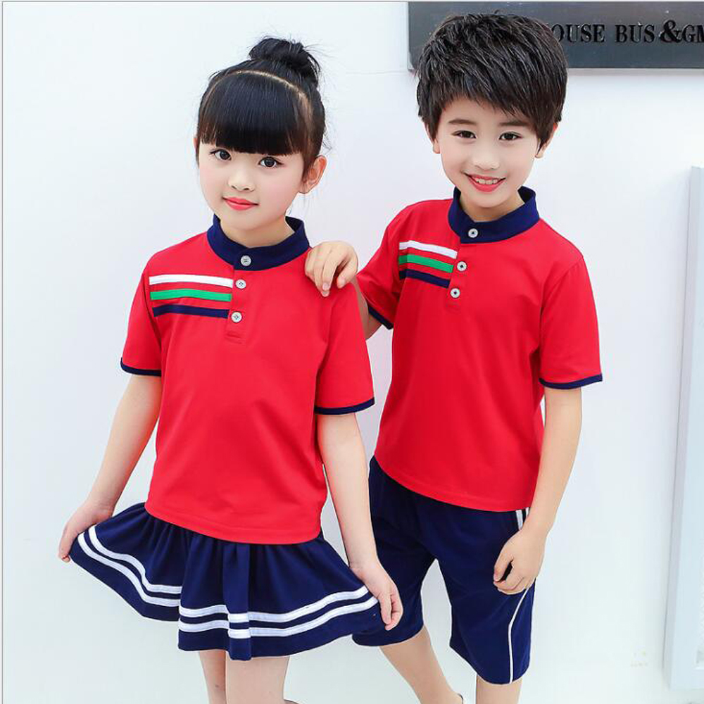 Red Plus Size Adults Children's Primary School Uniform Teen Students Chorus Costumes Kids Summer British School Uniforms Outfits
