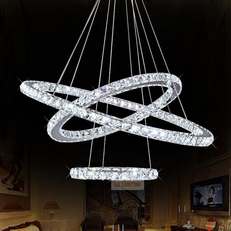 Modern ring crystal contemporary chandelier lustre cristal k9 high modern ring crystal contemporary chandelier lustre cristal k9 high ceiling chandeliers led pendant lamp kroonluchters bedroom in pendant lights from lights mozeypictures Images