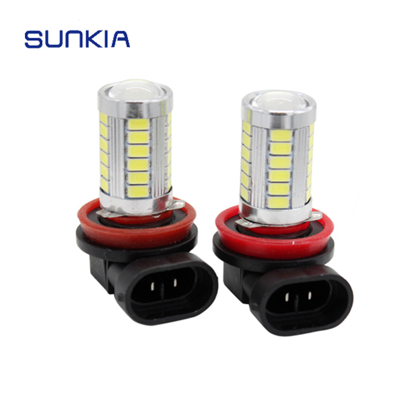 SUNKIA 2Pcs/Lot 12v Car LED Head Fog Light Bulb H8/H11 5630 33-SMD Car Styling Plug& Play Xenon White Driving Fog Lamp 2x h3 9 led smd car auto xenon white fog driving head light lamp bulb 6500k car styling lights lamp automoblies