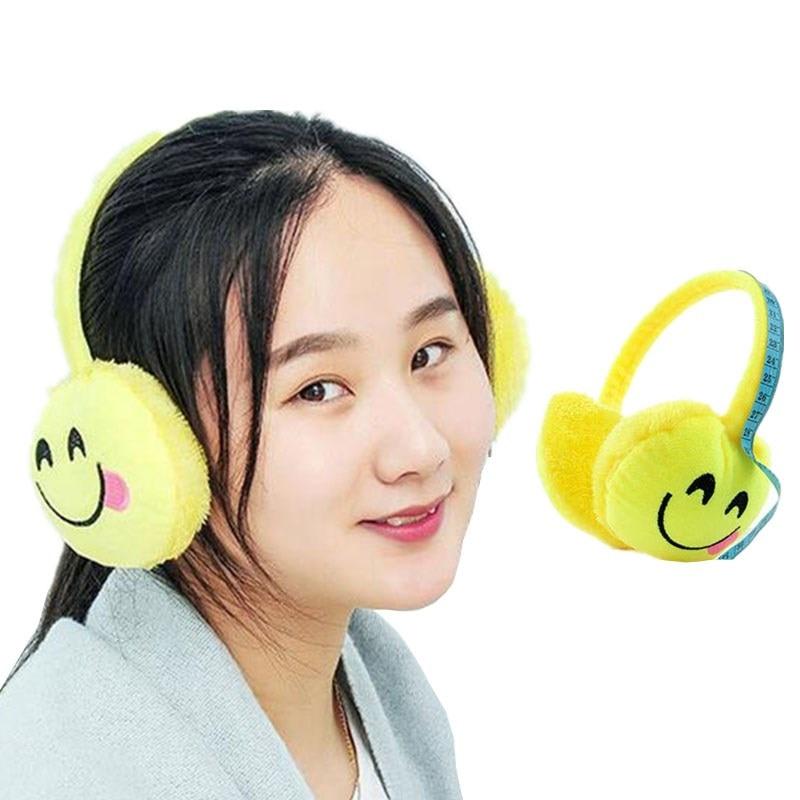 INDJXND 2018 New Christmas Cartoon Earmuff Expression Winter Warmer Men Earmuff Plush Cloth Novelty Ear Muffs Women Accessories