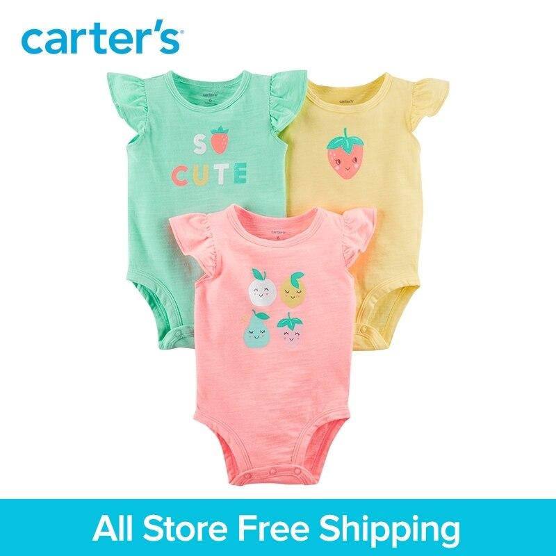 Carter's 3-Pack baby children kids clothing Girl Summer Flutter-Sleeve Fruity Original Bodysuits 127H191 flutter sleeve mesh overlay top