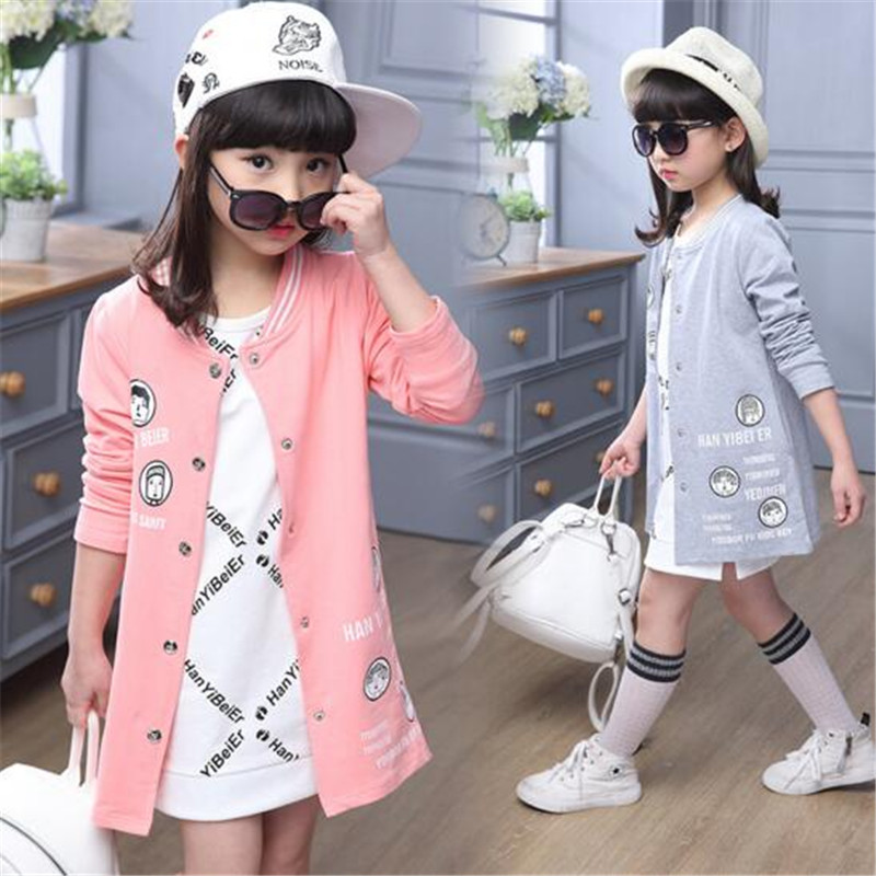 2016 New 4 15T Autumn Spring Girls Jackets Casual Outerwear Cotton Girl Jackets Fashion Buttons Kids