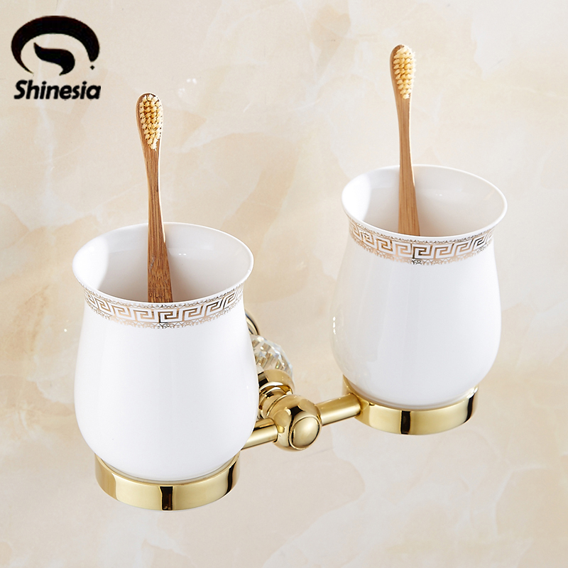 Newly Top grade Double Ceramic Cup Toothbrush Holder Wall Mounted Gold Finish