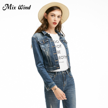 Mix Wind  Blue Basic Slim Jacket Coat Women Casual 2017 Long Sleeve Single Breasted Buttons Ripped Denim Jacket