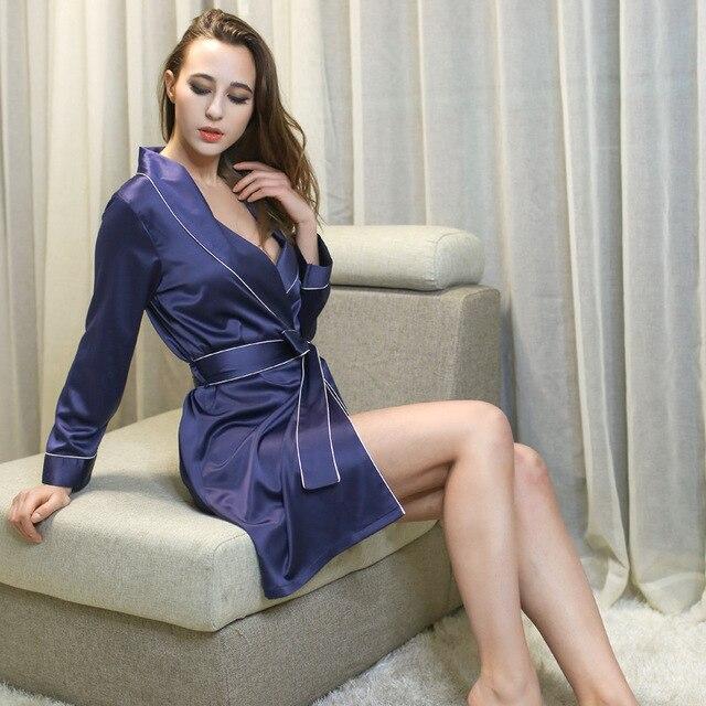 2016 весной и осенью дамы пижамы высокого класса моделирования шелковые пижамы Европа и соединенные Штаты сексуальная тонкий срез халат