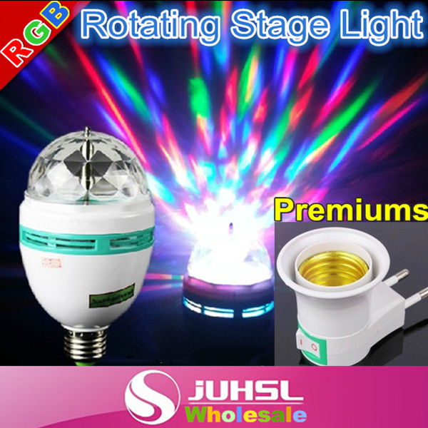 3W E27 Full Color LED Crystal Voice-activated Rotating Stage Light DJ Lamp Light Bulb Stage Lighting,mini moving lights