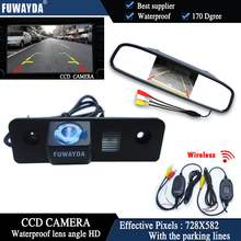 FUWAYDA Wireless Color CCD Chip Car Rear View Camera for SKODA ROOMSTER OCTAVIA TOUR FABIA + 4.3 Inch rearview Mirror Monitor