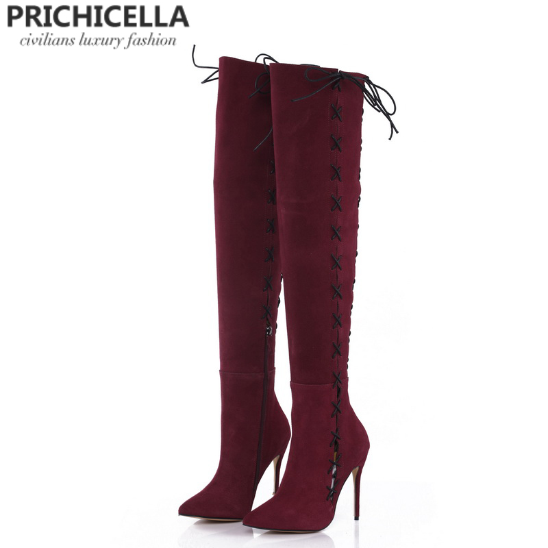 PRICHICELLA redwine genuine leather side lace up thigh boots stiletto heels sexy autumn winter high booties