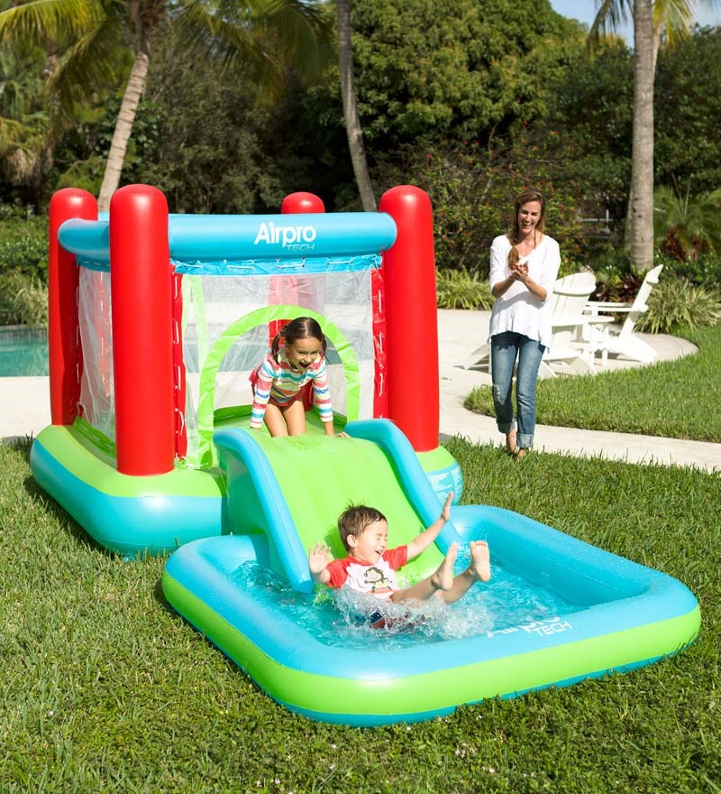 Children Outdoor Toy Self-Inflating Bouncy Castle Water Slide Pool Inflate Electronic Su ...