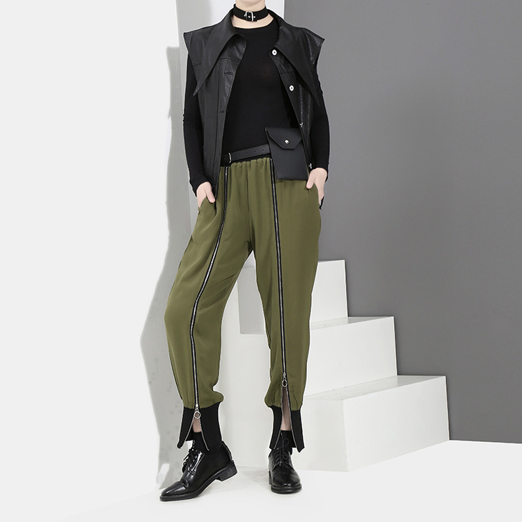 [EAM] 2018 new spring Zipper Decoration high waist solid color black green loose pants women trousers fashion all-match JC58801 6