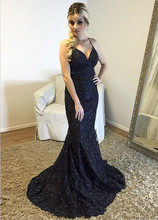 Black Long Dress Spaghetti Straps Mermaid Evening 2019 Lace Robe De Soiree longue Formal