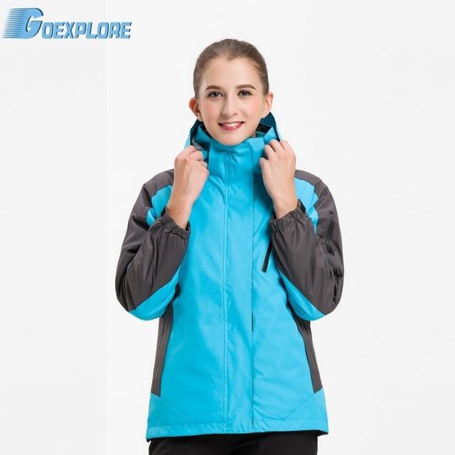 Goexplore Double layer Jacket Female sport hooded Windproof Waterproof winter ski outdoor hiking camping jacket for women