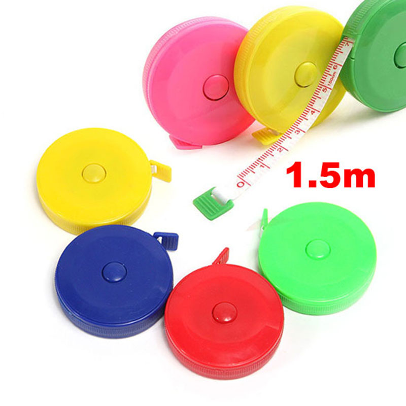 150CM Mini Measuring Tape Measure Retractable Metric Belt Colorful Portable Ruler Centimeter Inch Children Height Ruler