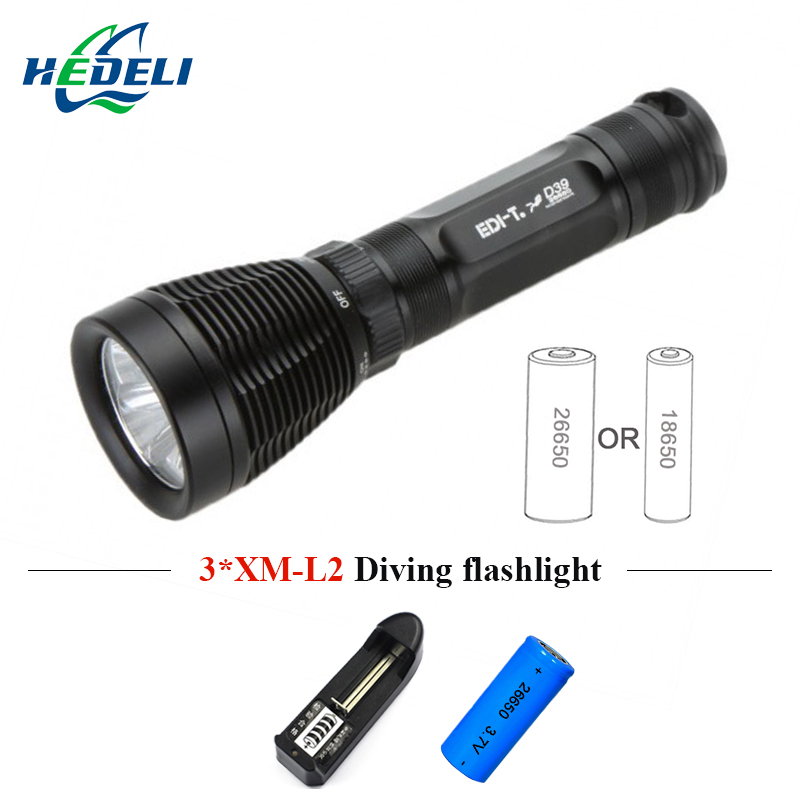 Strong light diving flashlight rechargeable 8 mode LED waterproof professional flashlight diving outdoor fishing must be 3xT6.