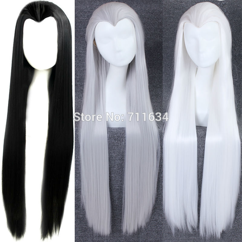 100cm Long Straight Black,White,Silvery Grey  Beauty Tip Clasic China Traditional Top Styled Hair Cosplay Party Wig + Wig Cap