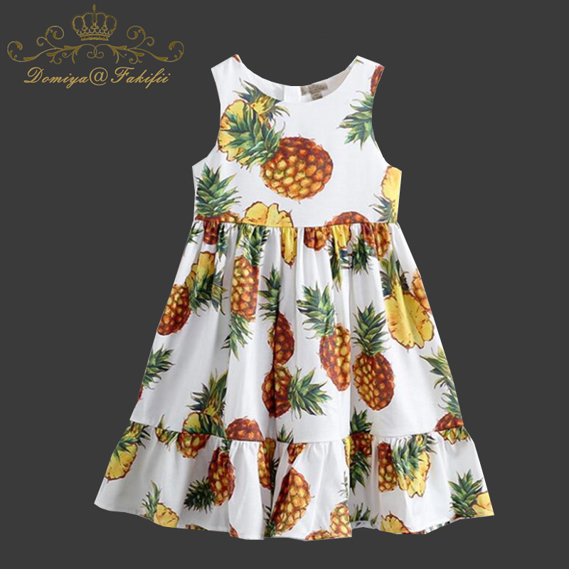 Domiya&Fakifii Girl Dress 2018 New Summer Sleeveless Princess Dress Children Clothing Pineapple Pattern Design for Girl Clothes