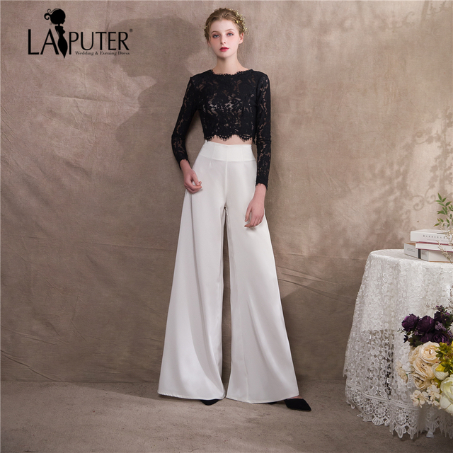 Laiputer Bride Dress Pants Straight Black Lace Long Sleeves Prom 2018 Fashion Evening Gowns