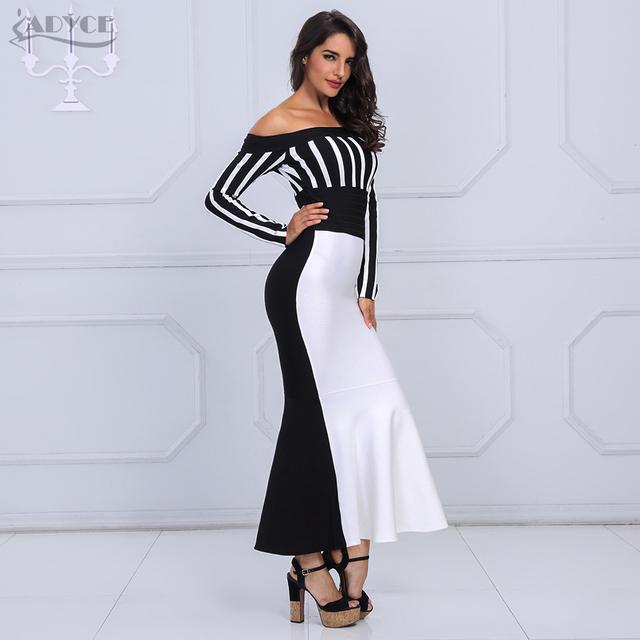 ADYCE 2017 Chic Winter Women Bandage Dress Sexy Black&White Long Sleeve Striped Slash Neck Evening Party Dress Vestidos