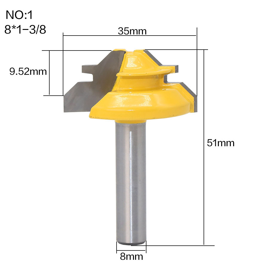 HTB1fh3UvQCWBuNjy0Faq6xUlXXaP - 1Pc 45 Degree Lock Miter Router Bit 8Inch Shank Woodworking Tenon Milling Cutter Tool Drilling Milling For Wood Carbide Alloy