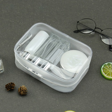Zipper PVC Makeup Bag Geometric Women Travel Transparent Refiilable Bottle Organizer Case 17x6x12cm