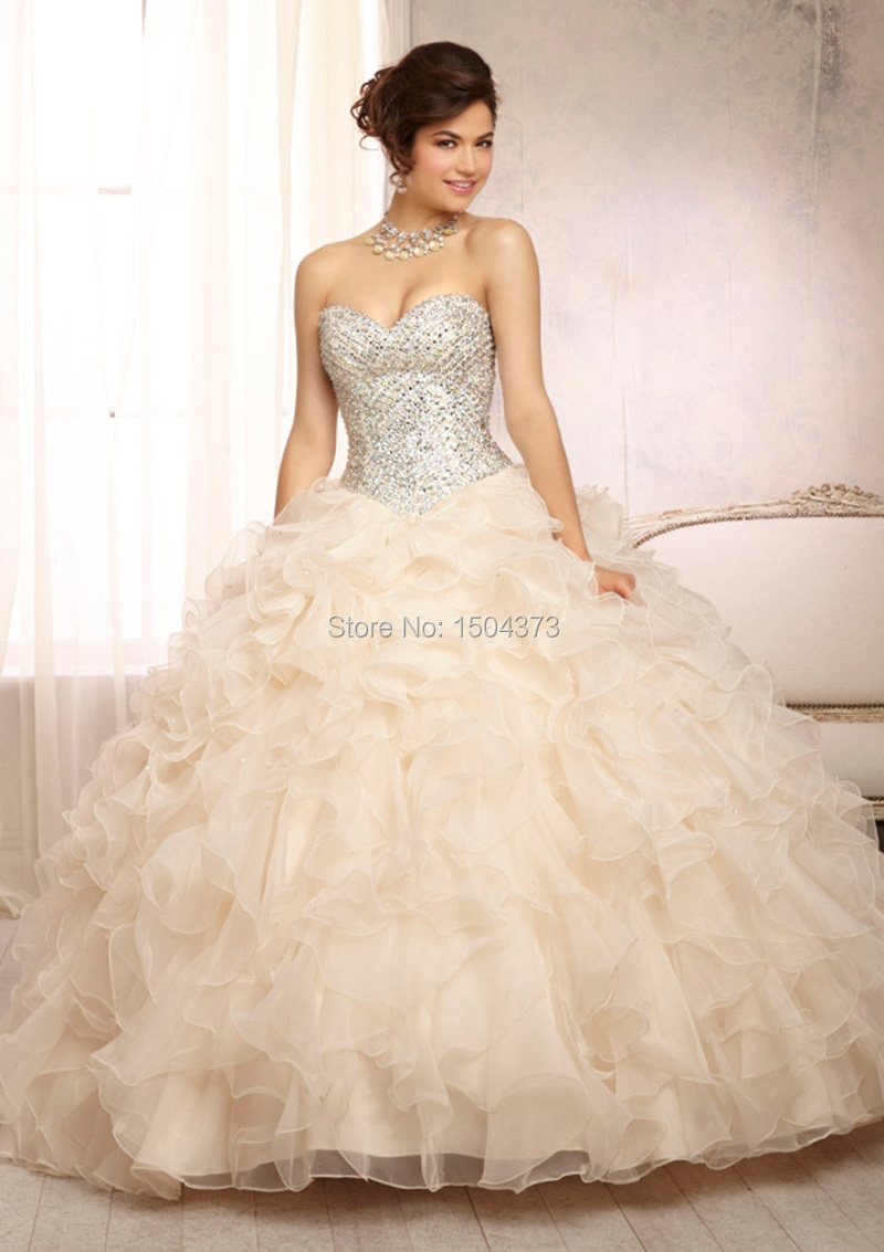 Sweet 15 Years Dresses 2015 Ball Gown Crystals Prom ...