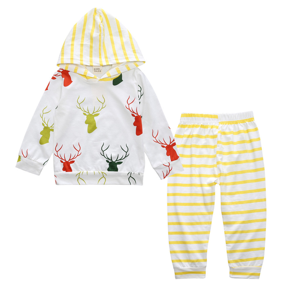 9M-24M Newborn Baby Sets Infant Autumn Long Sleeve Cotton Pattern Clothing Toddler Boy Girl Hooded Tops+Trousers Casual Outfits