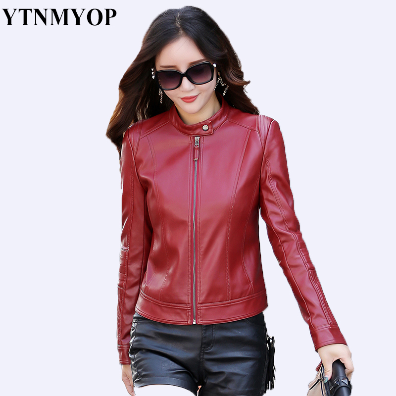 YTNMYOP 2019 New Slim Women   Leather   Jacket Casual Basic   Leather   Coat Simple Short O-Neck Zipper Female   Leather   Clothing